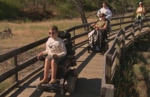 Students in wheelchairs exploring Yellowstone National Park